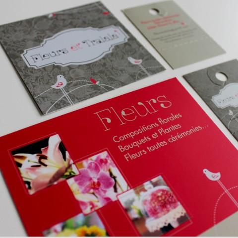 Identité visuelle fleuriste Carte de visite, affiche, étiquette produit